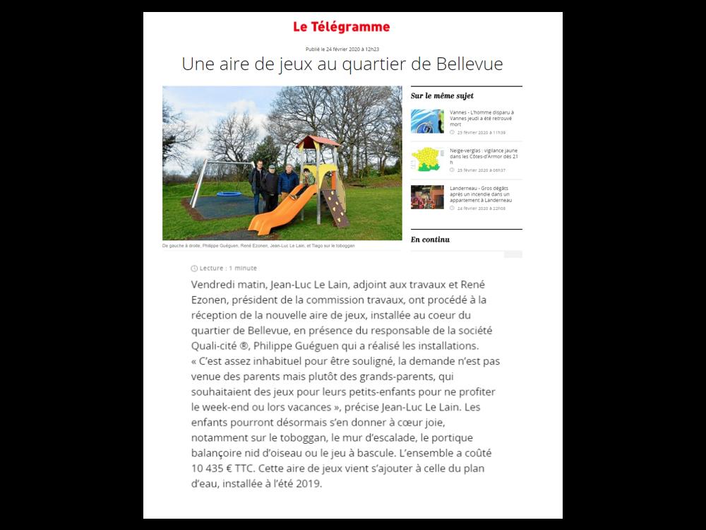 Plouray : nouvelle aire de jeux à Bellevue