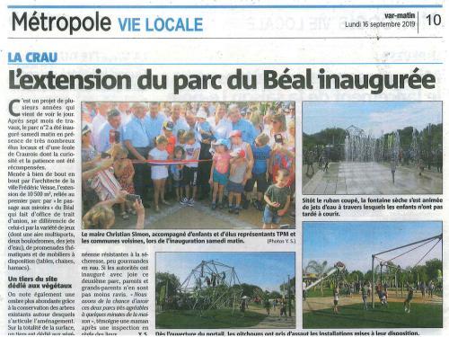 L'extension du parc Béal inaugurée