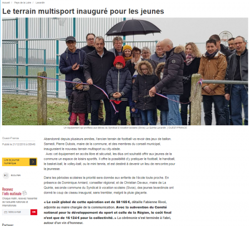 Inauguration du terrain multisport de Lavardin